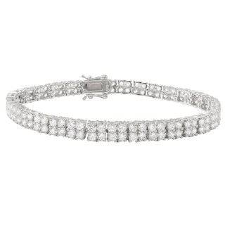 Luxiro Sterling Silver Cubic Zirconia Two-row Tennis Bracelet