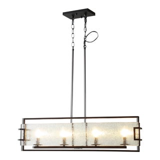 OVE Decors Anares iii Black-finished Bronze and Glass 4-light LED-integrated Pendant