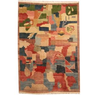 Herat Oriental Nepali Hand-knotted Tibetan Wool Rug (6'8 x 10')