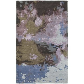 Make a Splash Blue/Purple Wool/Viscose Abstract Rug (10' x 13')