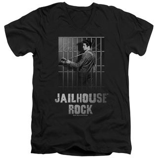Elvis/Jailhouse Rock Short Sleeve Adult T-Shirt V-Neck in Black