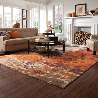 Autumn inspirations Abstract Multi/Orange Viscose/Wool Rug (10' X 13')