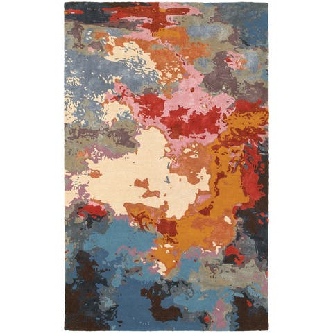 Porch & Den Pescos Essence Abstract Multi/ Pink Wool Blend Rug - 10' x 13'