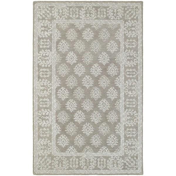 Loop Light Grey Bath Rug Reviews: Shop Style Haven Traditional Grey/Beige Wool Loop Pile Rug