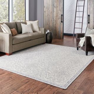 Floral and Vine Persian-inspired Loop-pile Stone/Grey Rug (10' 0 x 13' 0) - 10' x 13'