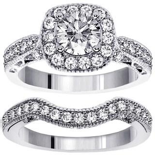 18k or 14k Gold 1 3/4ct TDW Halo Designer Brilliant-cut Diamond Engagement Bridal-set (G-H, SI1-SI2)