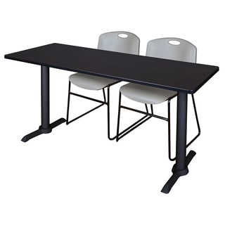 Cain Steel/Laminate 60-inch x 24-inch Training Table & 2 Zeng Grey Plastic Stacking Chairs