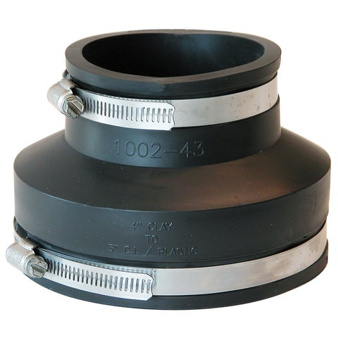 """Fernco P1002-43 4"""" Clay To 3"""" Cast Iron Or Plastic Coupling"""