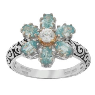 Meredith Leigh Sterling Silver and 14k Gemstone Flower Ring