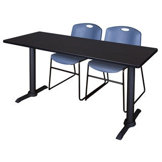 Regency Seating Cain Blue Metal and Wood 66-inch x 24-inch Training Table and 2 Zeng Stack Chairs