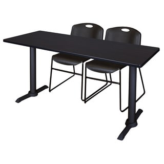 Cain 66-inch x 24-inch Training Table with 2 Black Zeng-style Stacking Chairs