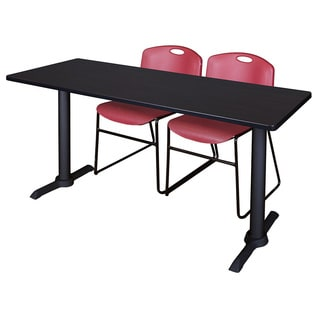 Cain Burgundy 66-inch x 24-inch Training Table With 2 Zeng Stack Chairs