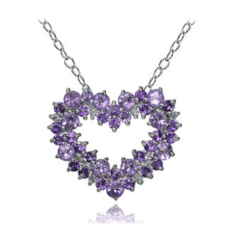 Glitzy Rocks Sterling Amethyst and White Topaz Heart Cluster Necklace