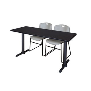 Cain Grey 66-inch x 24-inch Training Table and Set of 2 Zeng Stack Chairs