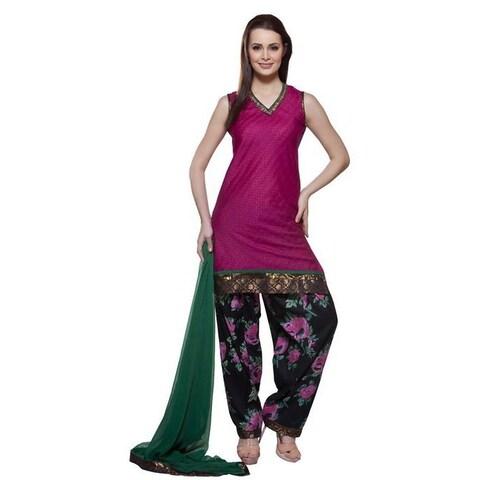 Handmade In-Sattva Women's Pink/ Green Indian 3-piece Mirror Work Ensemble (India)