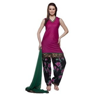 In-Sattva Women's Pink/ Green Indian 3-piece Mirror Work Ensemble (India)