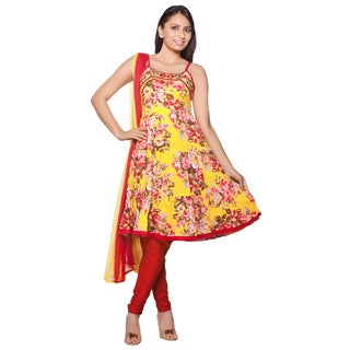 Handmade In-Sattva Women's Cotton and Chiffon Embroidered Pattern Floral Print 3-piece Indian Ensemble (India