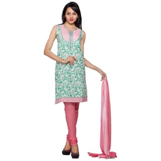 Handmade In-Sattva Women's Green/ Pink Indian Embroidered Chiffon and Cotton 3-piece Ensemble (India)|https://ak1.ostkcdn.com/images/products/12591847/P19388783.jpg?impolicy=medium