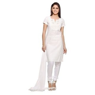In-Sattva Women's White Embroidered Yoke Cotton and Chiffon 3-piece Ensemble (India)