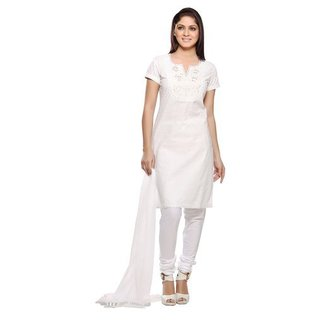 Handmade In-Sattva Women's White Embroidered Yoke Cotton and Chiffon 3-piece Ensemble (India) (Option: White)