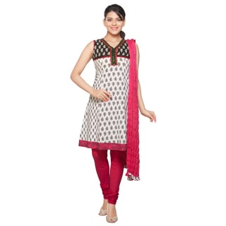 In-Sattva Women's White/ Pink Indian Embroidered Printed 3-piece Ensemble (India)