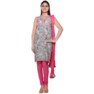 In-Sattva Women's Indian-style Mint/ Pink Cotton 3-piece Ensemble (India)