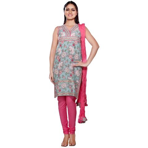 Handmade In-Sattva Women's Indian-style Mint/ Pink Cotton 3-piece Ensemble (India)