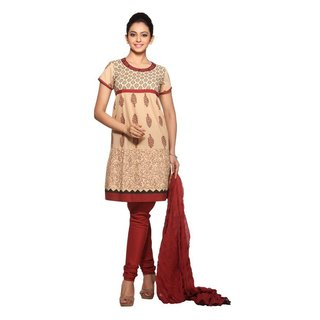 In-Sattva Women's Beige/Brown Cotton Printed 3-piece Indian Ensemble