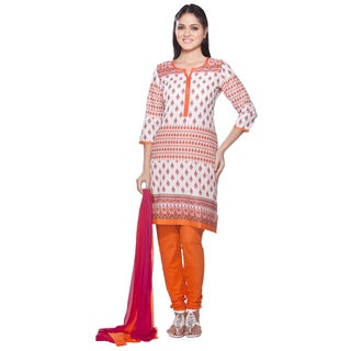 Handmade In-Sattva Women's White/ Orange Indian Printed 3-piece Ensemble (India)
