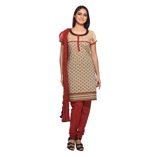 In-Sattva Women's Beige/ Rust Indian Printed 3-piece Ensemble (India)