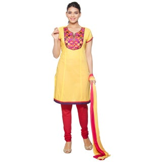 In-Sattva Women's Pink/Yellow Cotton/Chiffon 3-piece Indian Ensemble With Embroidered Yoke
