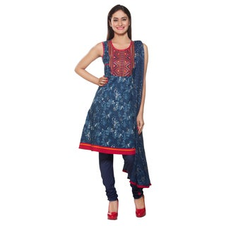 Handmade In-Sattva Women's Navy Indian Embroidered Yoke 3-piece Ensemble (India)