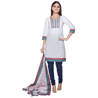 Handmade In-Sattva Women's White/ Blue Indian Embroidered Yoke 3-piece Ensemble (India)