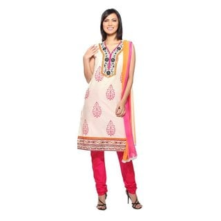 In-Sattva Women's Pink/ White Indian 3-piece Embroidered Ensemble (India)