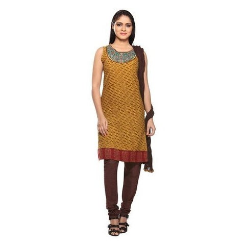 Handmade In-Sattva Women's Tan/Brown Cotton 3-piece Embroidered Indian Ensemble (India)