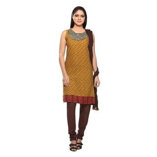In-Sattva Women's Tan/Brown Cotton 3-piece Embroidered Indian Ensemble