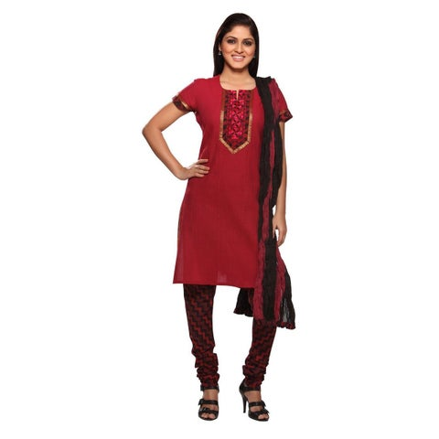 Handmade In-Sattva Women's Indian Red/ Black Cotton Embroidered Yoke 3-piece Ensemble (India)