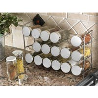 Polder White Stainless Steel Compact 18-bottle Spice Rack