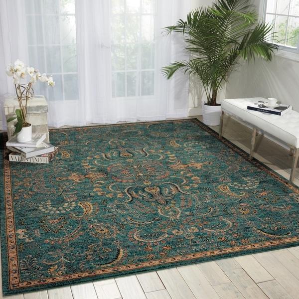 shop nourison 2020 teal area rug 5 39 3 x 7 39 5 free shipping today 12592130. Black Bedroom Furniture Sets. Home Design Ideas