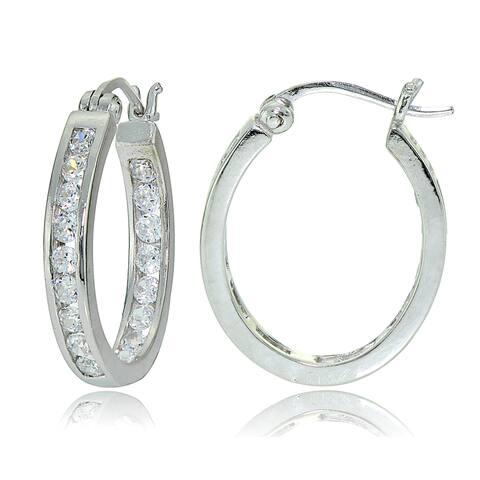 Icz Stonez Sterling Silver Cubic Zirconia Channel-set Oval Hoop Earrings
