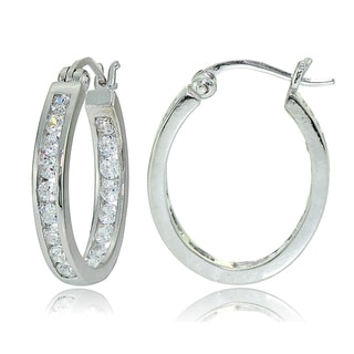 Icz Stonez Sterling Silver Cubic Zirconia Channel-set Oval Hoop Earrings