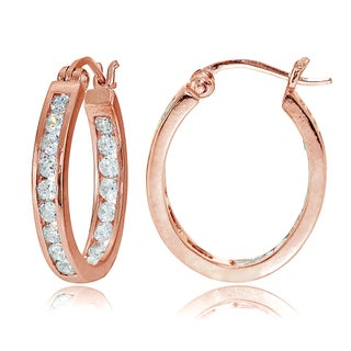 Icz Stonez Sterling Silver Cubic Zirconia Channel-set Oval Hoop Earrings (Option: Gold Plate - Rose)