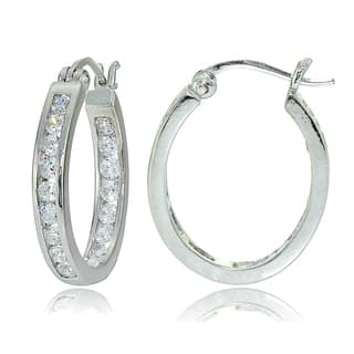 Icz Stonez Sterling Silver Cubic Zirconia Channel-set Oval Hoop Earrings|https://ak1.ostkcdn.com/images/products/12592159/P19389039.jpg?impolicy=medium