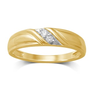 Unending Love Men's 10k Yellow Gold .06ct TDW Diamond Accent Wedding Band (IJ I2-I3)
