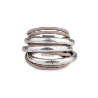Saachi Leather Ring with Curved Bars (China)