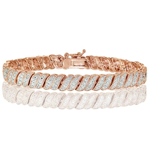 DB Designs Silvertone 1/4ct TDW Diamond Wave Tennis Bracelet