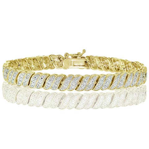 DB Designs Silvertone 1/4ct TDW Diamond Wave Tennis Bracelet