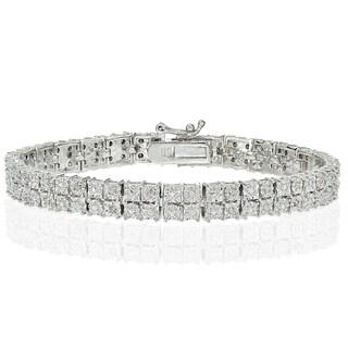 DB Designs Silvertone 1/4ct Diamond Miracle Set 2-Row Tennis Bracelet