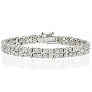 DB Designs Silvertone 1/4ct Diamond Miracle Set 2-Row Tennis Bracelet