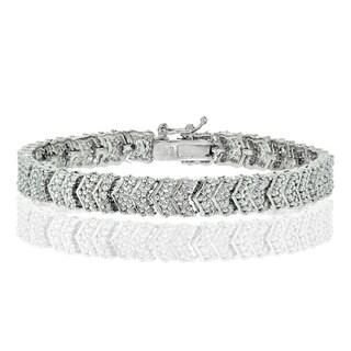DB Designs Silvertone 1/4ct TDW Diamond Chevron Tennis Bracelet